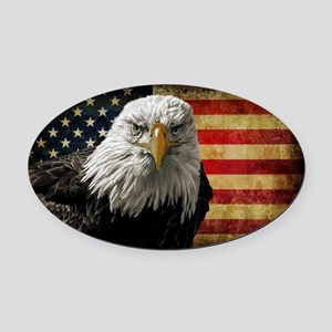 Bald Eagle and Flag Oval Car Magnet