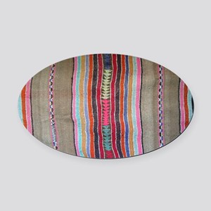 Peruvian Textile Shoulder Bag Oval Car Magnet