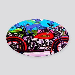 Blue Dogs on Motorcycles Shoulder  Oval Car Magnet