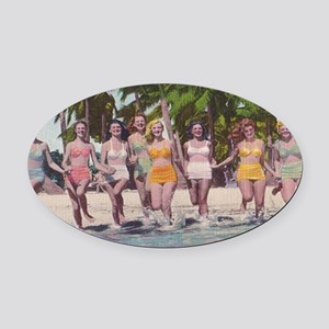 Vintage Miami Bathing Beauties Pos Oval Car Magnet
