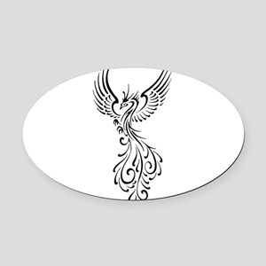 black-phoenix-bird Oval Car Magnet