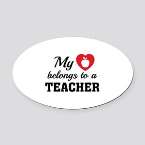 Heart Belongs Teacher Oval Car Magnet