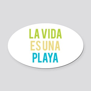 Life's a Beach Oval Car Magnet