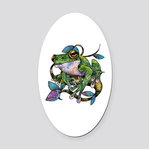 Wild Frog Oval Car Magnet