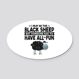 Black Sheep Oval Car Magnet