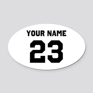 Customize sports jersey number Oval Car Magnet