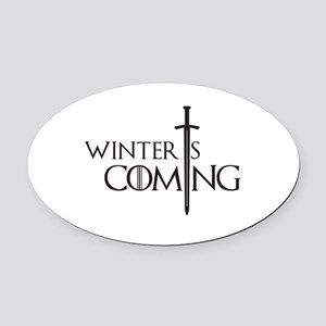 Winter is Coming Oval Car Magnet