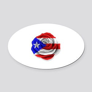 74a8ae15d532 Puerto Rican Rose Flag on White Oval Car Magnet