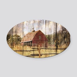 farm red barn wood texture Oval Car Magnet