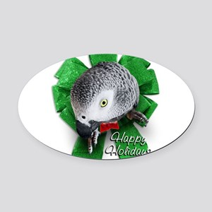 African Grey Parrot Christmas  Oval Car Magnet