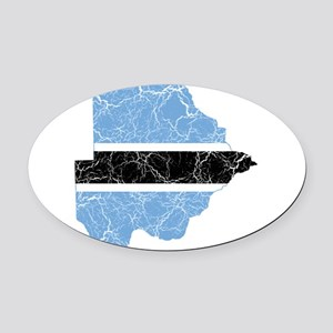 Botswana Flag And Map Oval Car Magnet