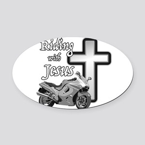 Riding with Jesus Oval Car Magnet