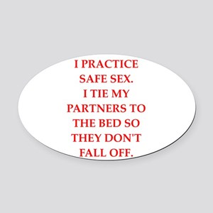 safe sex Oval Car Magnet