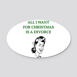 funny christmas divorce joke Oval Car Magnet