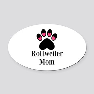 Rottweiler Mom Paw Print Oval Car Magnet