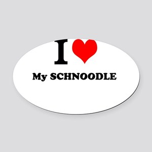 I Love My SCHNOODLE Oval Car Magnet