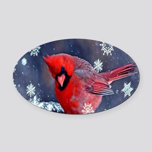 winter snow red cardinal Oval Car Magnet