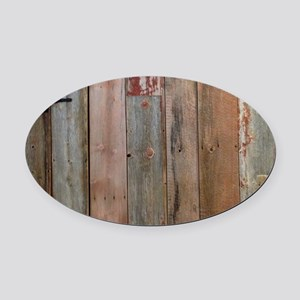 rustic western barn wood Oval Car Magnet