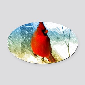watercolor winter red cardinal Oval Car Magnet