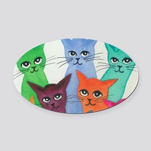 Huron Whimsical Cats Oval Car Magnet