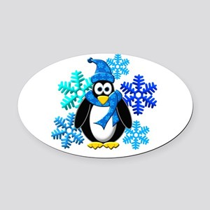 Penguin Snowflakes Winter Design Oval Car Magnet