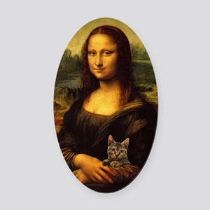 Monalisa with cat Oval Car Magnet