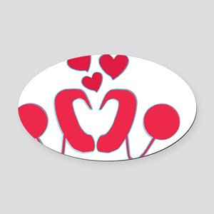 abstractci6-hearts-1 Oval Car Magnet
