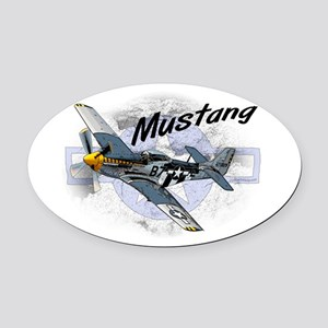 P51 Mustang Oval Car Magnet