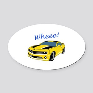 Wheee Fast Cars Oval Car Magnet