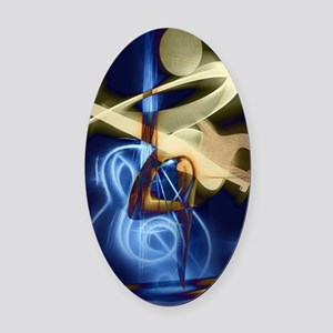 The Guitar Player, Abstract Design Oval Car Magnet