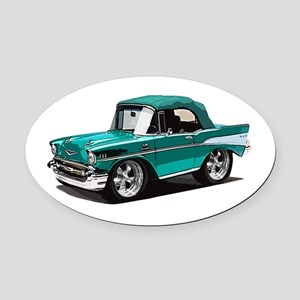 BabyAmericanMuscleCar_57BelR_Green Oval Car Magnet