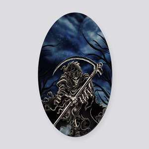 GRIM REAPER AT NIGHT Oval Car Magnet