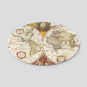 Antique World Map Oval Car Magnet