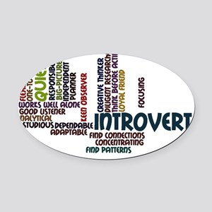 Introvert Strengths Word Cloud 2 Oval Car Magnet