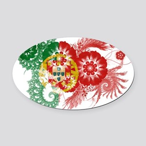 Portugal textured flower Oval Car Magnet