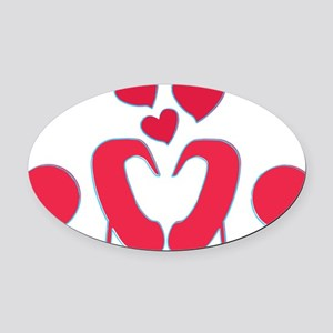 abstractci6-hearts Oval Car Magnet