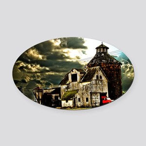Stormy Old Barn and Silo Oval Car Magnet