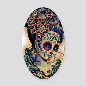 Marie Muertos shower curtain Oval Car Magnet