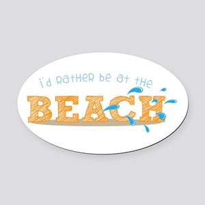 I'd rather be at the Beach Oval Car Magnet