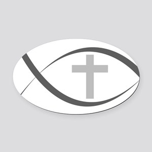 jesus fish_reverse Oval Car Magnet