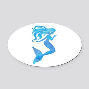 Watercolor Mermaid Oval Car Magnet