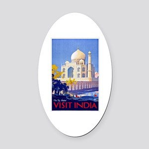 India Travel Poster 13 Oval Car Magnet