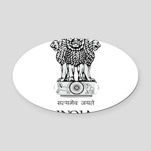 Emblem_of_India 2 DARK Oval Car Magnet