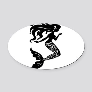 Mermaid silhouette design Oval Car Magnet