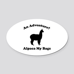 An Adventure? Alpaca My Bags Oval Car Magnet