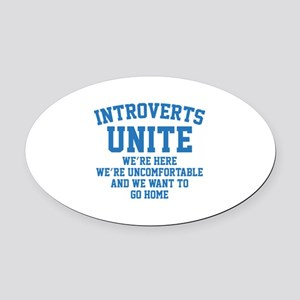 Introverts Unite Oval Car Magnet