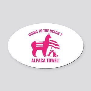 Alpaca Towel Oval Car Magnet