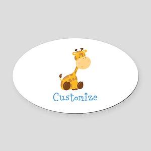 Custom Baby Giraffe Oval Car Magnet