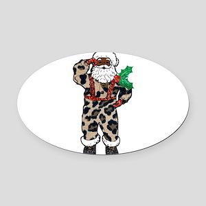 african leopard santa claus Oval Car Magnet