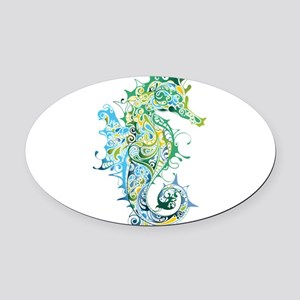 Paisley Seahorse Oval Car Magnet